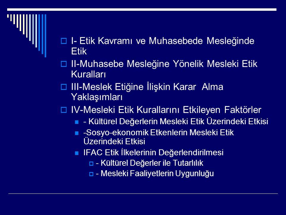  I- Etik Kavramı ve Muhasebede Mesleğinde Etik  II-Muhasebe Mesleğine Yönelik Mesleki Etik Kuralları  III-Meslek Etiğine İlişkin Karar Alma Yaklaşı