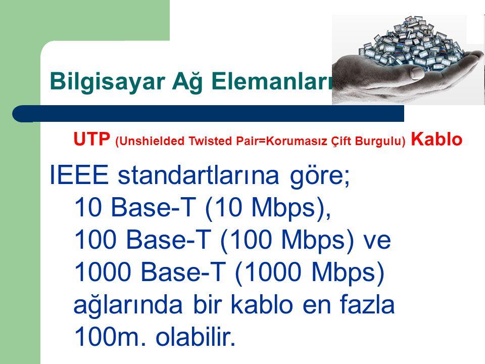 Bilgisayar Ağ Elemanları KABLOLAR UTP (Unshielded Twisted Pair=Korumasız Çift Burgulu) Kablo IEEE standartlarına göre; 10 Base-T (10 Mbps), 100 Base-T (100 Mbps) ve 1000 Base-T (1000 Mbps) ağlarında bir kablo en fazla 100m.