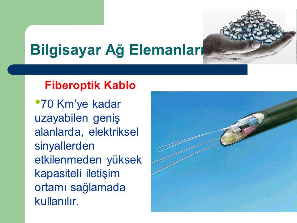Bilgisayar Ağ Elemanları KABLOLAR Fiberoptik Kablo • 70 Km'ye kadar uzayabilen geniş alanlarda, elektriksel sinyallerden etkilenmeden yüksek kapasiteli iletişim ortamı sağlamada kullanılır.