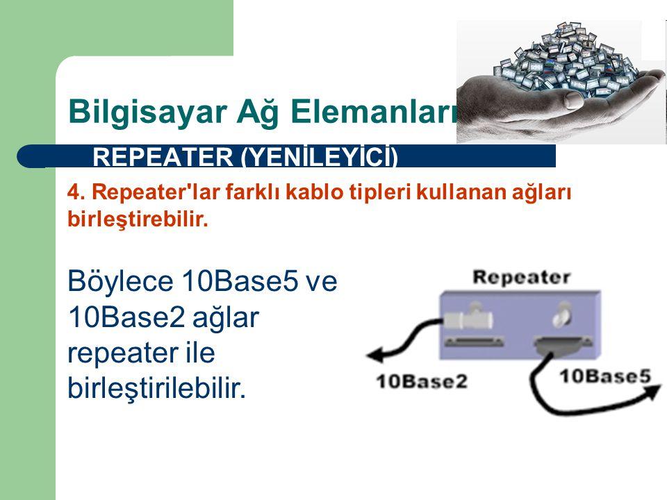 Bilgisayar Ağ Elemanları  REPEATER (YENİLEYİCİ) Böylece 10Base5 ve 10Base2 ağlar repeater ile birleştirilebilir.