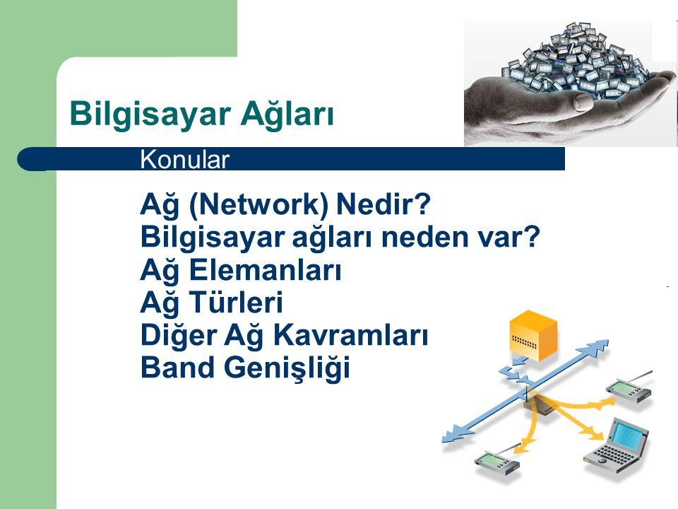 Ağ Türleri  LAN (Local Area Network) – Oda, bina veya binalar arası  MAN (Metropolitan Area Network) – 3-30 mil, bir şehirde  WAN (Wide Area Network) – Tüm dünyada