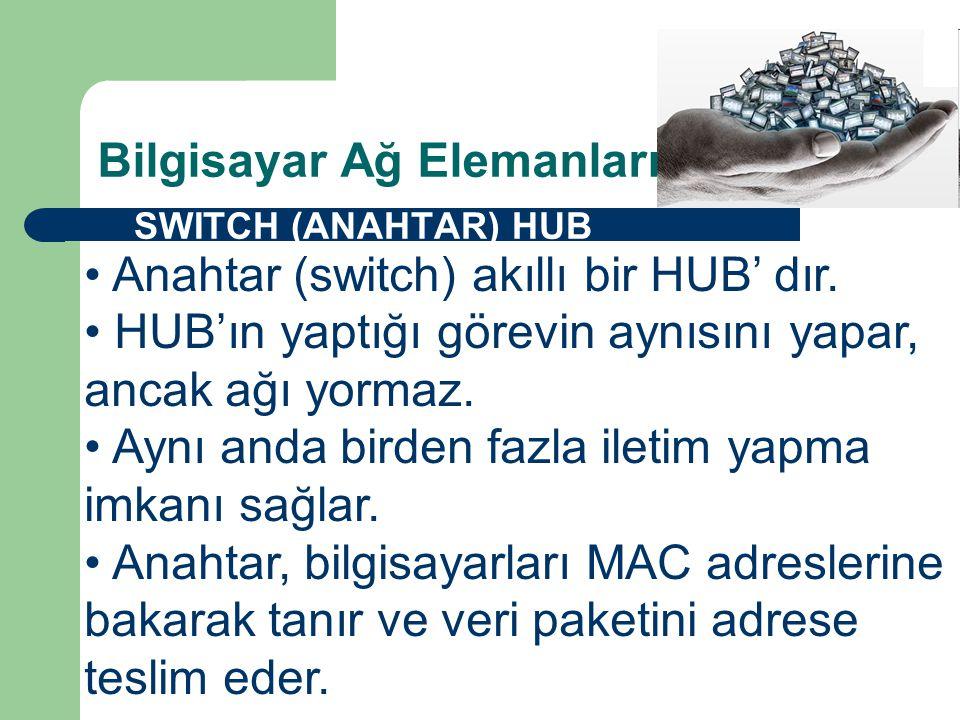 Bilgisayar Ağ Elemanları  SWITCH (ANAHTAR) HUB • Anahtar (switch) akıllı bir HUB' dır.