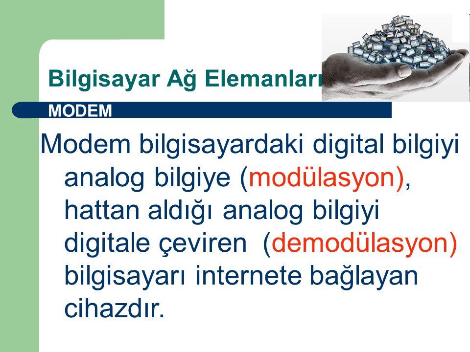 Bilgisayar Ağ Elemanları MODEM Modem bilgisayardaki digital bilgiyi analog bilgiye (modülasyon), hattan aldığı analog bilgiyi digitale çeviren (demodülasyon) bilgisayarı internete bağlayan cihazdır.