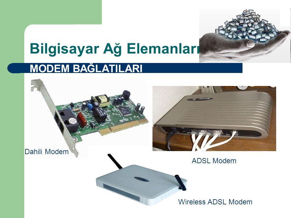 Bilgisayar Ağ Elemanları MODEM BAĞLATILARI Dahili Modem ADSL Modem Wireless ADSL Modem