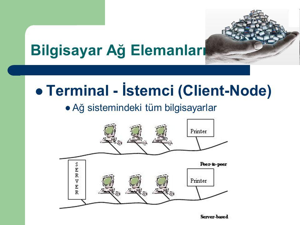 Bilgisayar Ağ Elemanları  Terminal - İstemci (Client-Node)  Ağ sistemindeki tüm bilgisayarlar