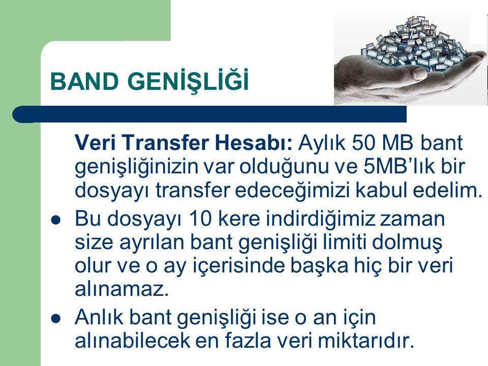 BAND GENİŞLİĞİ Veri Transfer Hesabı: Aylık 50 MB bant genişliğinizin var olduğunu ve 5MB'lık bir dosyayı transfer edeceğimizi kabul edelim.