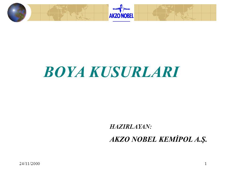 24/11/20002 YAŞ BOYA KUSURLARI 1. VİSKOZİTE 2. ELEKTRİK DİRENCİ 3. ÇÖKME