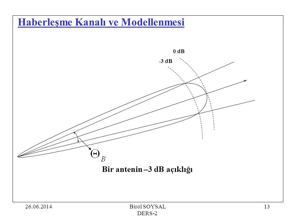 26.06.2014Birol SOYSAL DERS-2 13 Haberleşme Kanalı ve Modellenmesi Bir antenin –3 dB açıklığı 0 dB -3 dB