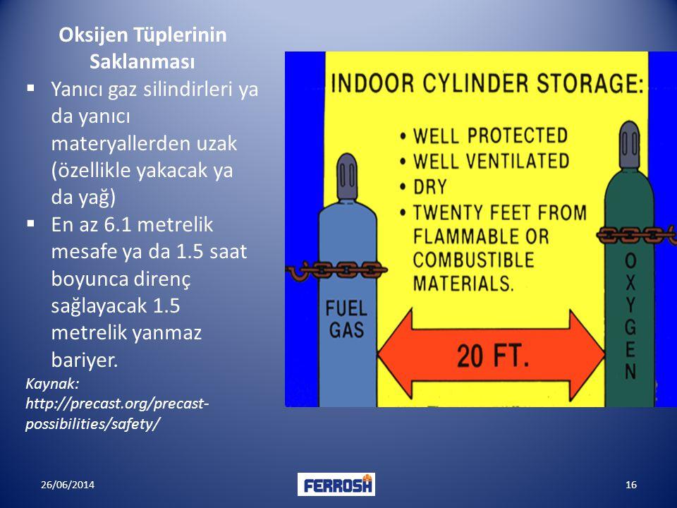 Oksijen Tüplerinin Saklanması  Yanıcı gaz silindirleri ya da yanıcı materyallerden uzak (özellikle yakacak ya da yağ)  En az 6.1 metrelik mesafe ya