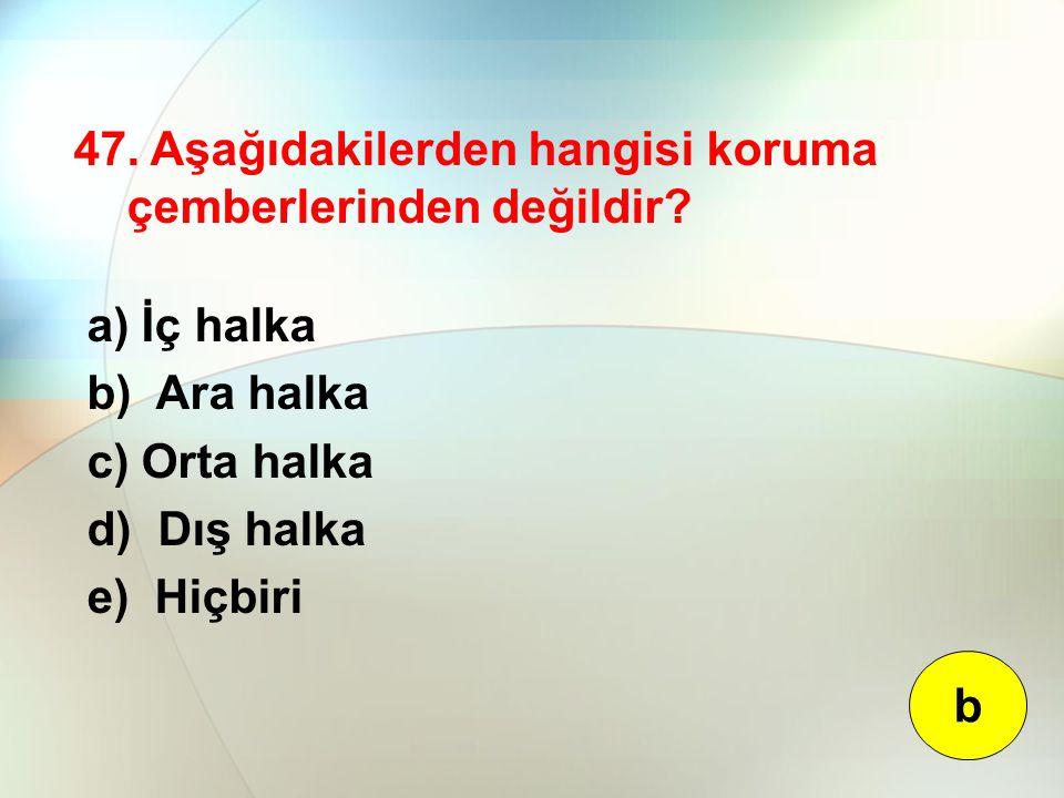 47. Aşağıdakilerden hangisi koruma çemberlerinden değildir? a) İç halka b) Ara halka c) Orta halka d) Dış halka e) Hiçbiri b