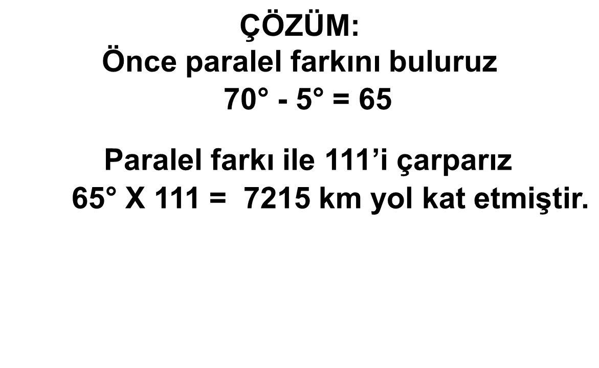 ÇÖZÜM: Önce paralel farkını buluruz 70° - 5° = 65 Paralel farkı ile 111'i çarparız 65° X 111 = 7215 km yol kat etmiştir.