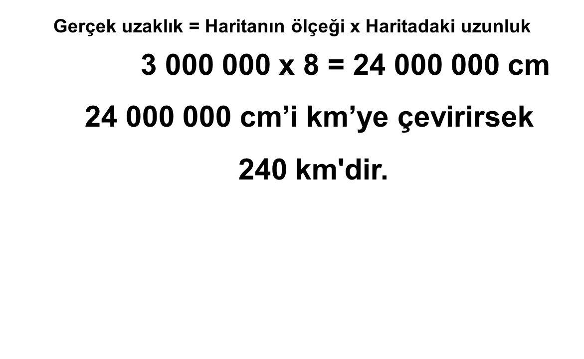 Gerçek uzaklık = Haritanın ölçeği x Haritadaki uzunluk 3 000 000 x 8 = 24 000 000 cm 24 000 000 cm'i km'ye çevirirsek 240 km'dir.