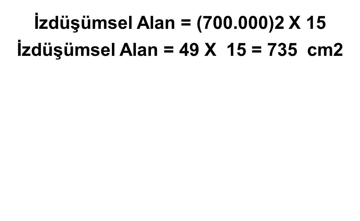 İzdüşümsel Alan = (700.000)2 X 15 İzdüşümsel Alan = 49 X 15 = 735 cm2