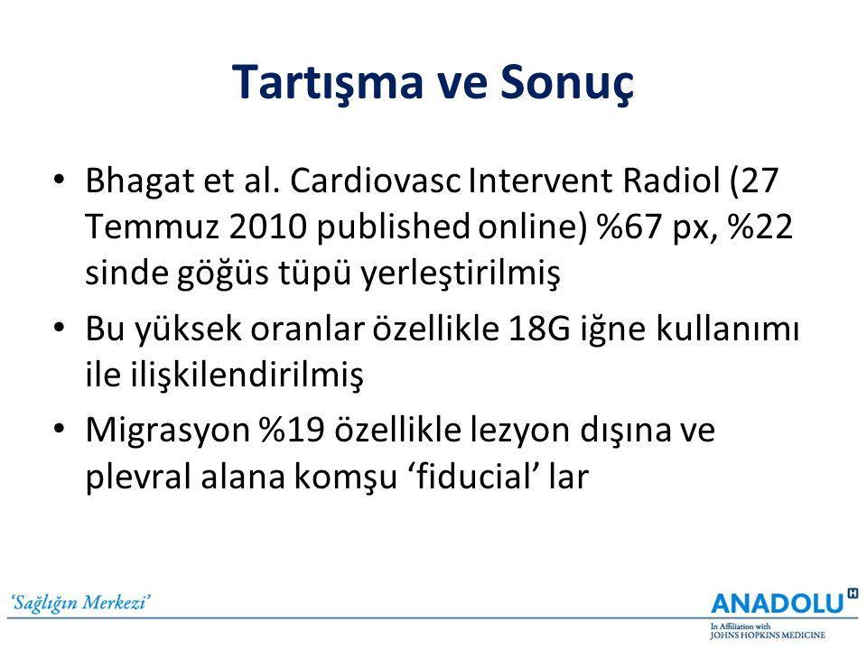Tartışma ve Sonuç • Bhagat et al. Cardiovasc Intervent Radiol (27 Temmuz 2010 published online) %67 px, %22 sinde göğüs tüpü yerleştirilmiş • Bu yükse