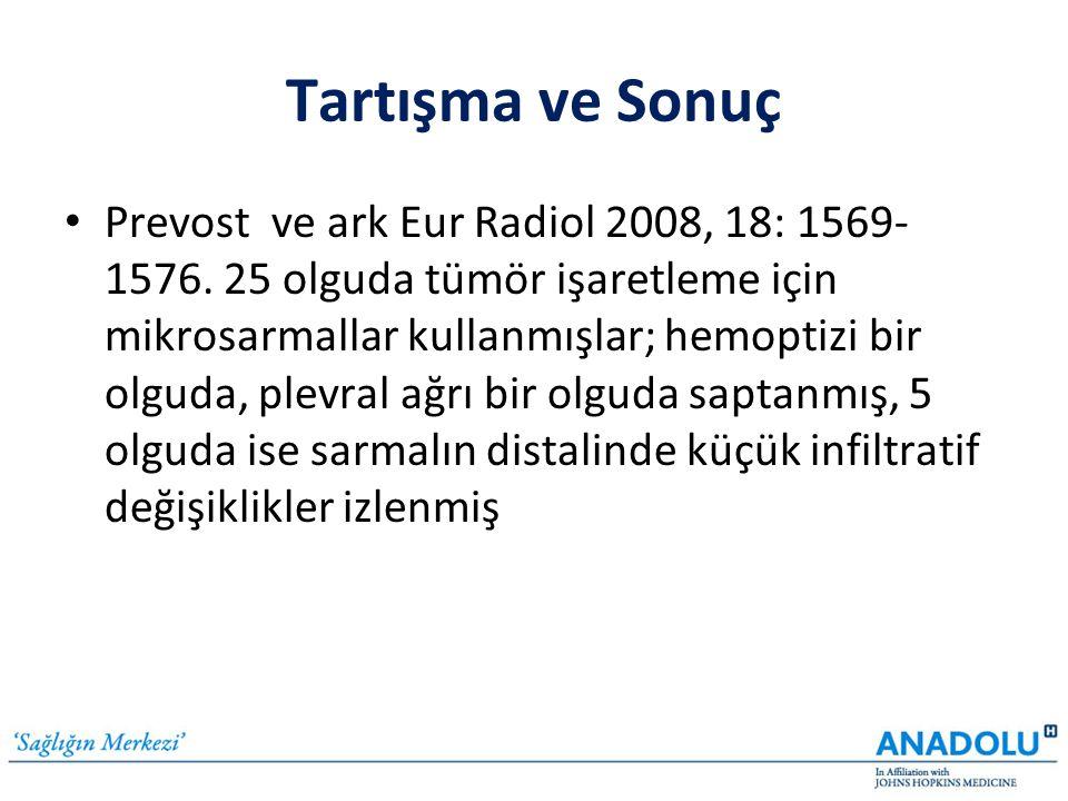 Tartışma ve Sonuç • Prevost ve ark Eur Radiol 2008, 18: 1569- 1576. 25 olguda tümör işaretleme için mikrosarmallar kullanmışlar; hemoptizi bir olguda,