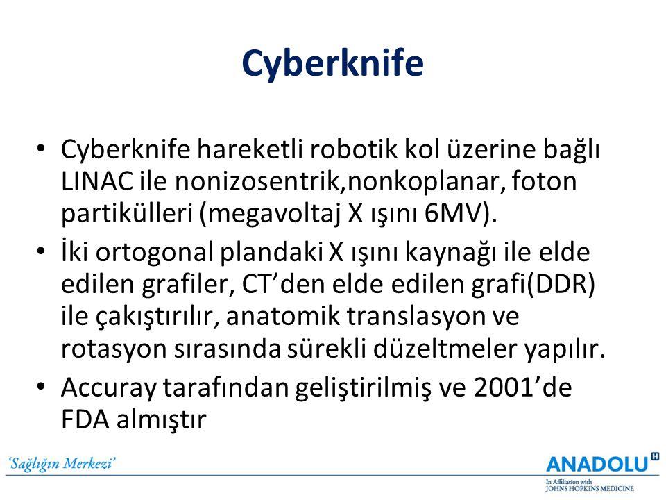 Cyberknife • Cyberknife hareketli robotik kol üzerine bağlı LINAC ile nonizosentrik,nonkoplanar, foton partikülleri (megavoltaj X ışını 6MV). • İki or