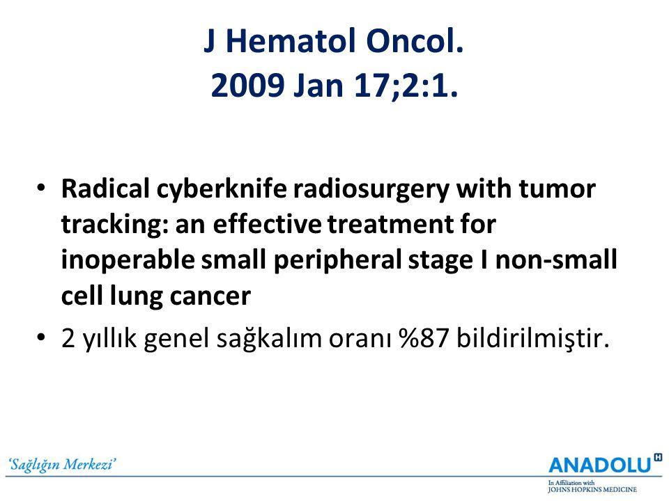 Clin Lung Cancer 2007 Sep;8(8):488-92 • CyberKnife radiosurgery for stage I lung cancer: results at 36 months • Tedavi gören 59 olgunun 51'i (%86) sağ bildirilmiştir