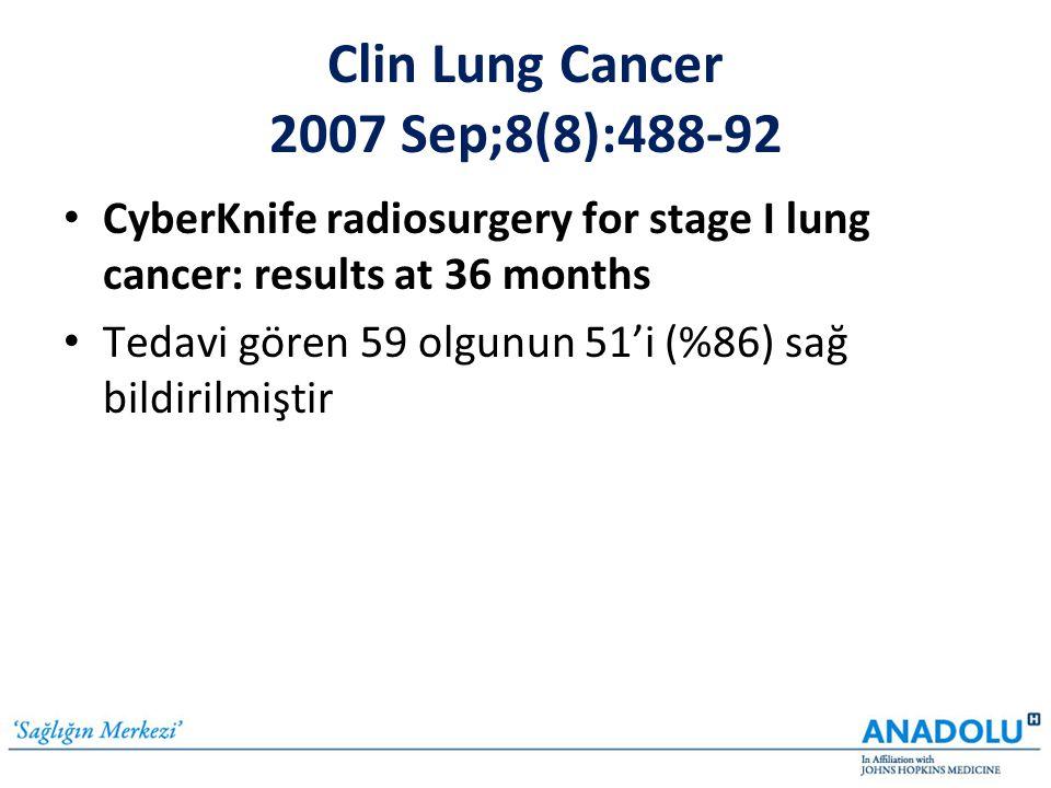 Clin Lung Cancer 2007 Sep;8(8):488-92 • CyberKnife radiosurgery for stage I lung cancer: results at 36 months • Tedavi gören 59 olgunun 51'i (%86) sağ