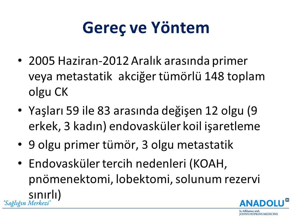 Gereç ve Yöntem • 2005 Haziran-2012 Aralık arasında primer veya metastatik akciğer tümörlü 148 toplam olgu CK • Yaşları 59 ile 83 arasında değişen 12