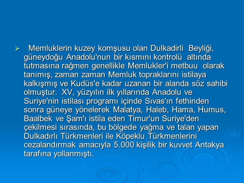 Memluklerin kuzey komşusu olan Dulkadirli Beyliği, güneydoğu Anadolu'nun bir kısmını kontrolü altında tutmasına rağmen genellikle Memlukler'i metbuu