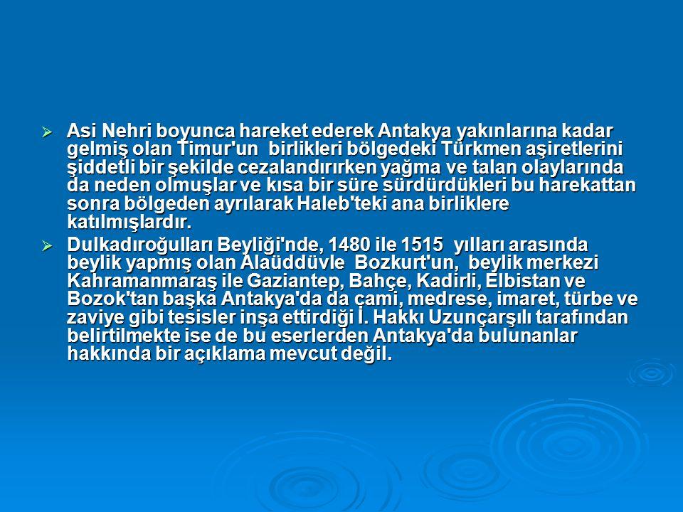  Asi Nehri boyunca hareket ederek Antakya yakınlarına kadar gelmiş olan Timur'un birlikleri bölgedeki Türkmen aşiretlerini şiddetli bir şekilde cezal