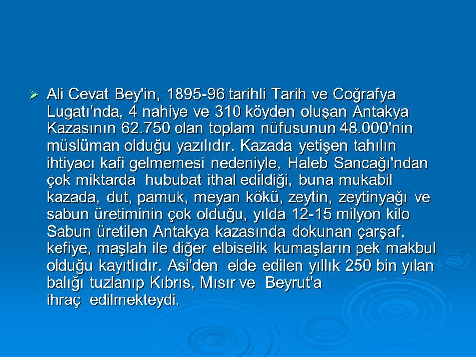  Ali Cevat Bey'in, 1895-96 tarihli Tarih ve Coğrafya Lugatı'nda, 4 nahiye ve 310 köyden oluşan Antakya Kazasının 62.750 olan toplam nüfusunun 48.000'