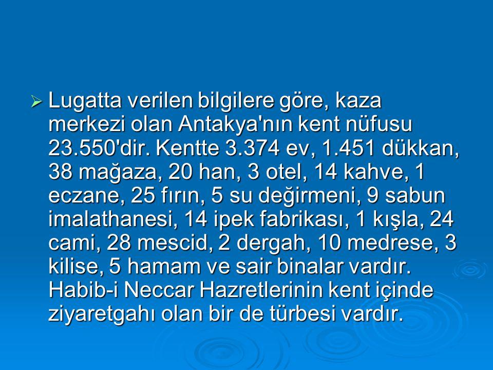  Lugatta verilen bilgilere göre, kaza merkezi olan Antakya'nın kent nüfusu 23.550'dir. Kentte 3.374 ev, 1.451 dükkan, 38 mağaza, 20 han, 3 otel, 14 k