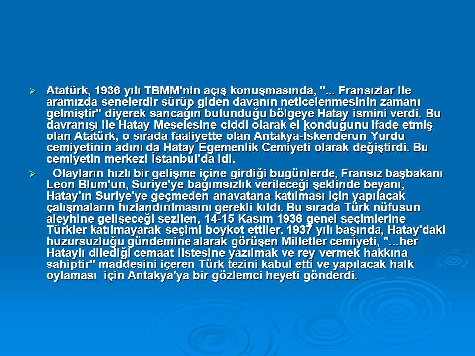  Atatürk, 1936 yılı TBMM'nin açış konuşmasında,