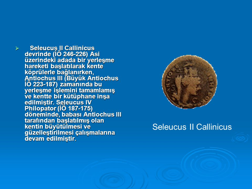  Seleucus II Callinicus devrinde (İÖ 246-226) Asi üzerindeki adada bir yerleşme hareketi başlatılarak kente köprülerle bağlanırken, Antiochus III (Büyük Antiochus İÖ 223-187) zamanında bu yerleşme işlemini tamamlamış ve kentte bir kütüphane inşa edilmiştir.
