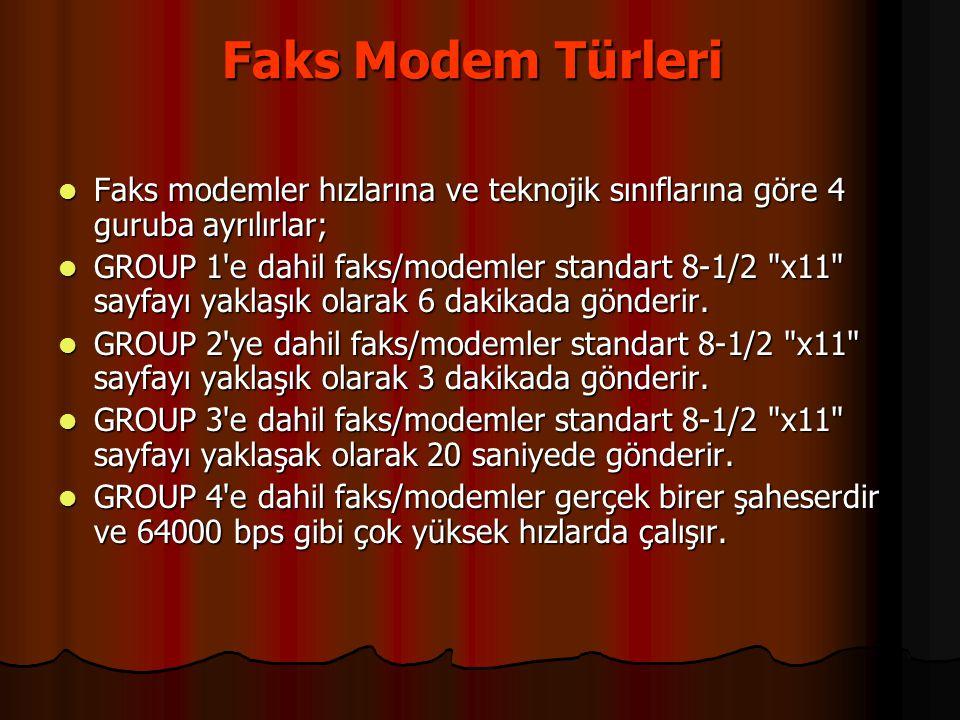 Faks Modem Türleri Faks Modem Türleri  Faks modemler hızlarına ve teknojik sınıflarına göre 4 guruba ayrılırlar;  GROUP 1'e dahil faks/modemler stan