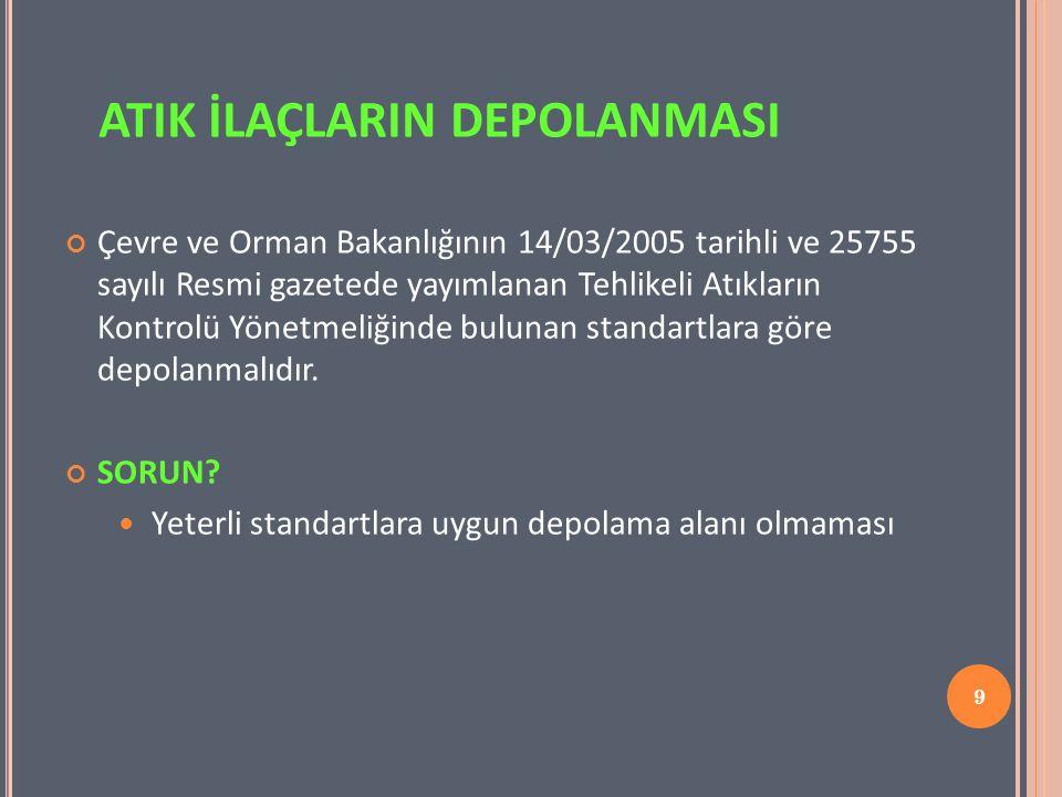 9 Çevre ve Orman Bakanlığının 14/03/2005 tarihli ve 25755 sayılı Resmi gazetede yayımlanan Tehlikeli Atıkların Kontrolü Yönetmeliğinde bulunan standar