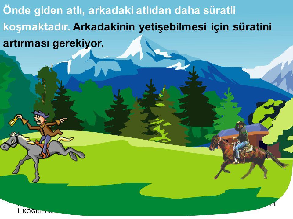 MERSİN ÇANKAYA İLKÖĞRETİM OKULU AHMET HARMANBAŞI14 Önde giden atlı, arkadaki atlıdan daha süratli koşmaktadır.