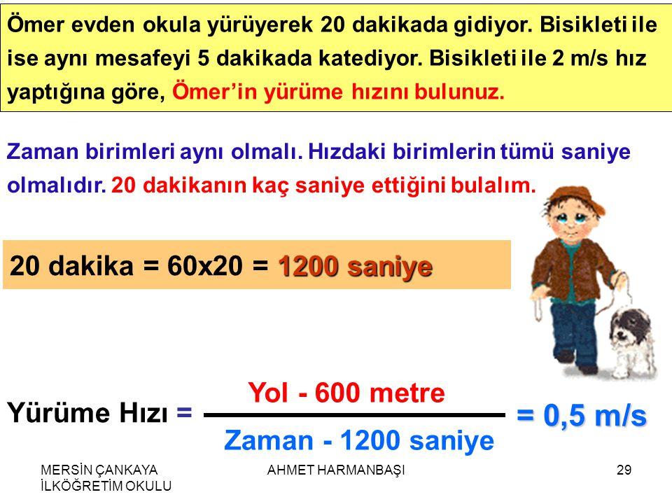 MERSİN ÇANKAYA İLKÖĞRETİM OKULU AHMET HARMANBAŞI29 Ömer evden okula yürüyerek 20 dakikada gidiyor.