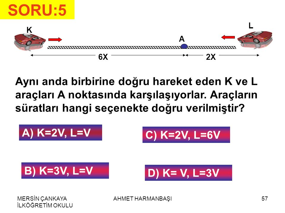 MERSİN ÇANKAYA İLKÖĞRETİM OKULU AHMET HARMANBAŞI57 SORU:5 K L 6X2X A Aynı anda birbirine doğru hareket eden K ve L araçları A noktasında karşılaşıyorlar.