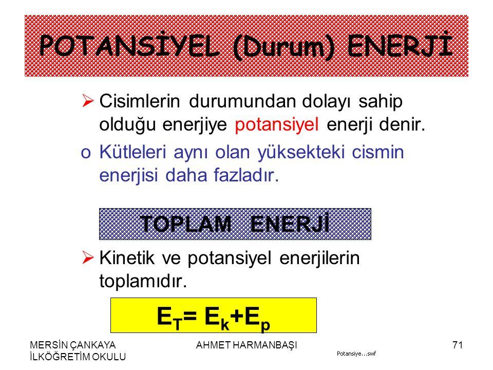 MERSİN ÇANKAYA İLKÖĞRETİM OKULU AHMET HARMANBAŞI71 POTANSİYEL (Durum) ENERJİ CCisimlerin durumundan dolayı sahip olduğu enerjiye potansiyel enerji denir.