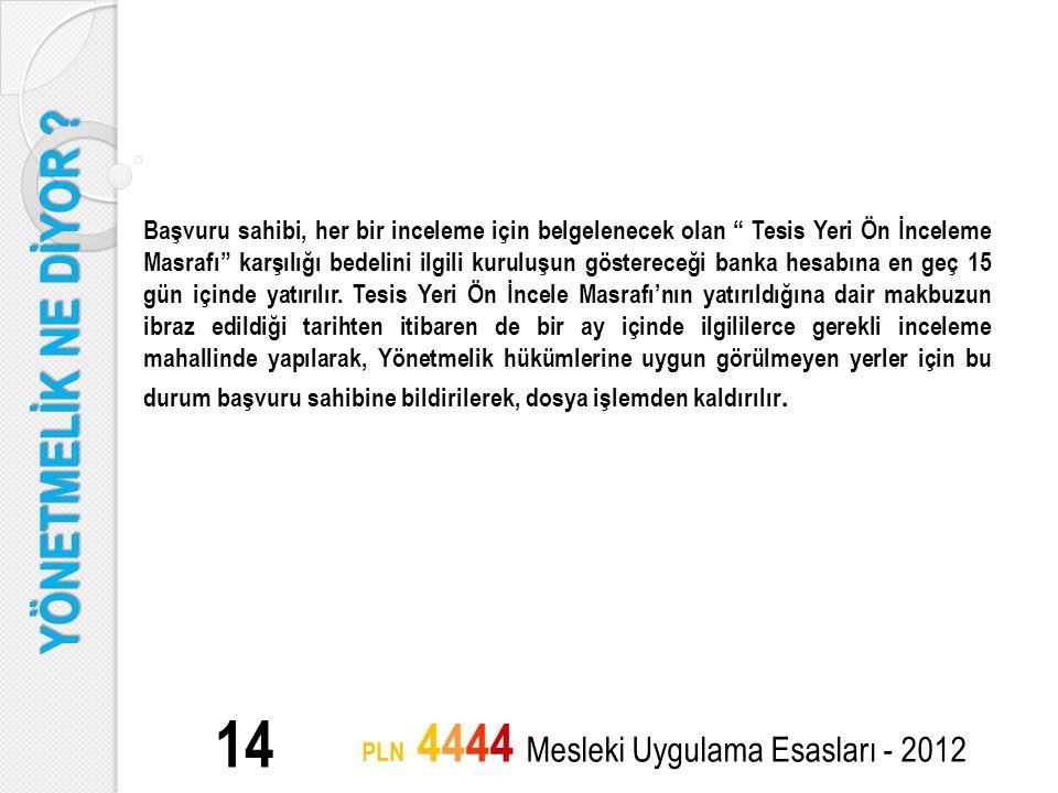 """YÖNETMELİK NE DİYOR ? 14 PLN 4444 Mesleki Uygulama Esasları - 2012 Başvuru sahibi, her bir inceleme için belgelenecek olan """" Tesis Yeri Ön İnceleme Ma"""