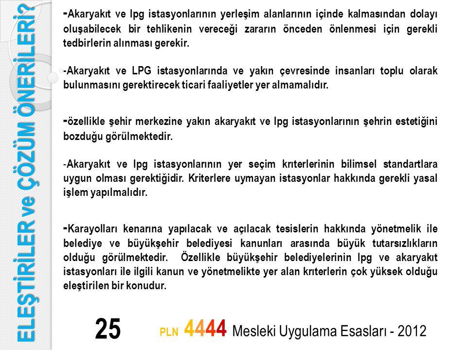 ELEŞTİRİLER ve ÇÖZÜM ÖNERİLERİ? 25 PLN 4444 Mesleki Uygulama Esasları - 2012 - Akaryakıt ve lpg istasyonlarının yerleşim alanlarının içinde kalmasında