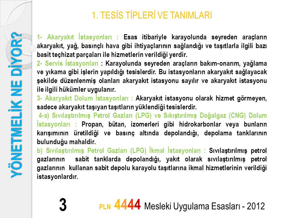 YÖNETMELİK NE DİYOR? 3 PLN 4444 Mesleki Uygulama Esasları - 2012 1. TESİS TİPLERİ VE TANIMLARI 1- Akaryakıt İstasyonları : Esas itibariyle karayolunda