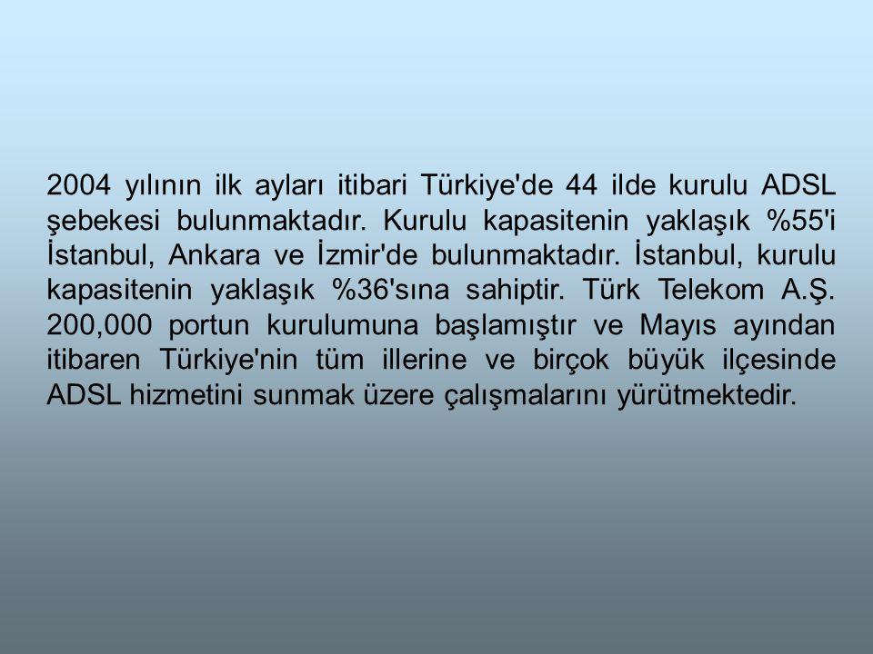 2004 yılının ilk ayları itibari Türkiye de 44 ilde kurulu ADSL şebekesi bulunmaktadır.
