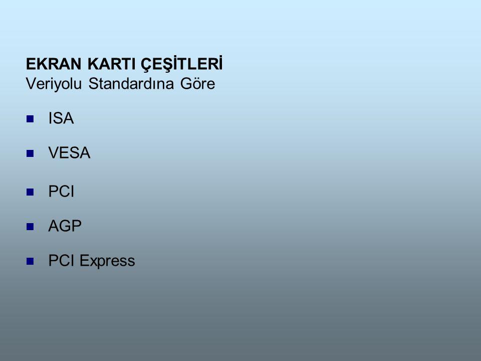 EKRAN KARTI ÇEŞİTLERİ Veriyolu Standardına Göre  ISA  VESA  PCI  AGP  PCI Express