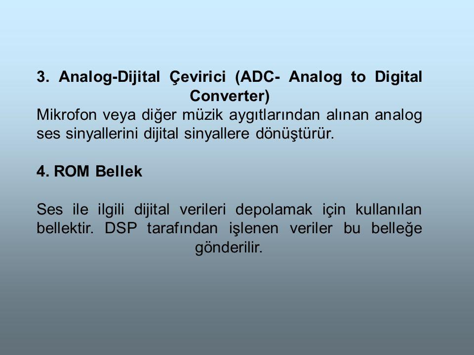 3. Analog-Dijital Çevirici (ADC- Analog to Digital Converter) Mikrofon veya diğer müzik aygıtlarından alınan analog ses sinyallerini dijital sinyaller