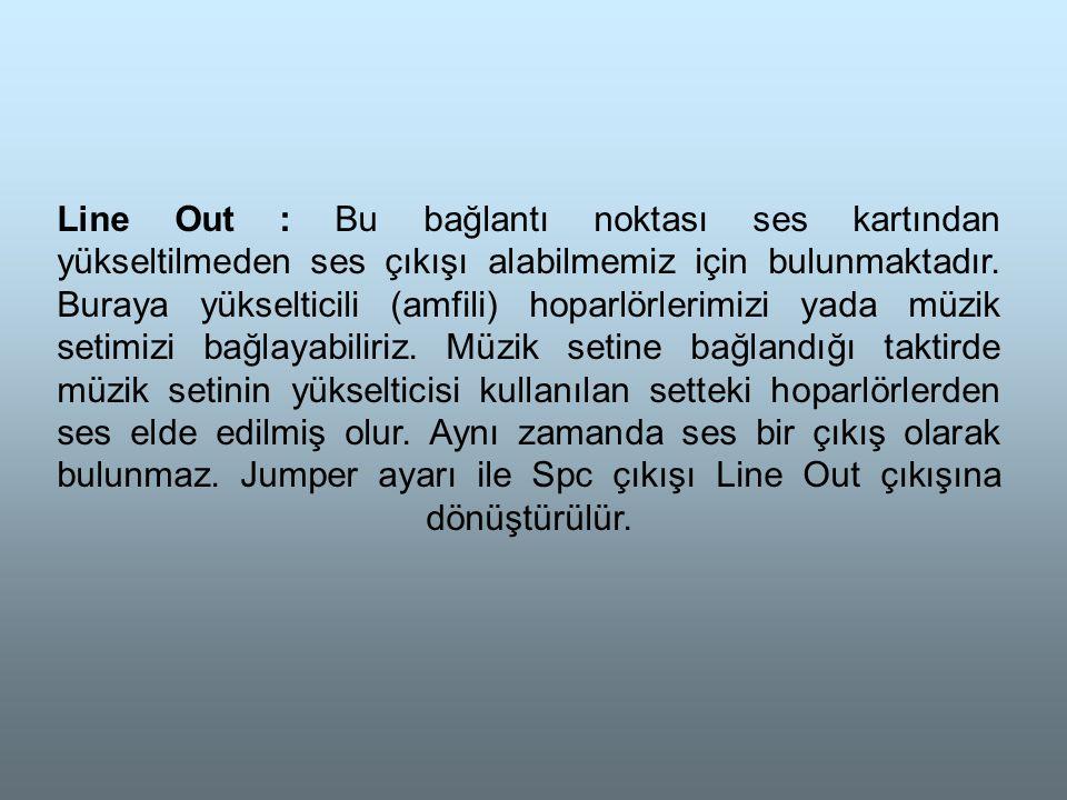 Line Out : Bu bağlantı noktası ses kartından yükseltilmeden ses çıkışı alabilmemiz için bulunmaktadır.