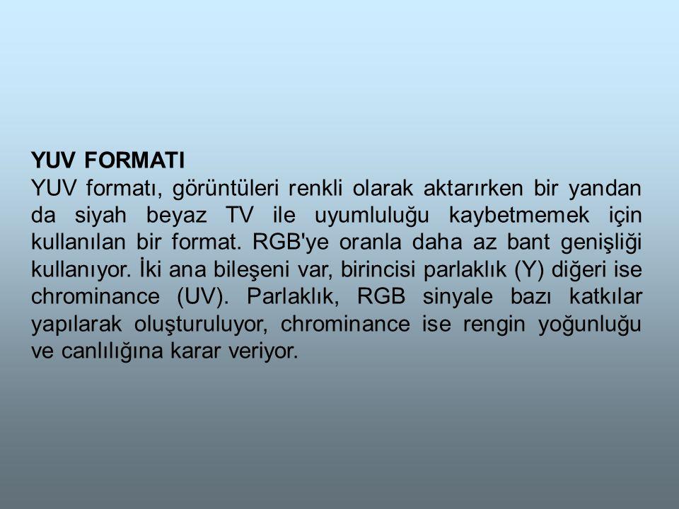 YUV FORMATI YUV formatı, görüntüleri renkli olarak aktarırken bir yandan da siyah beyaz TV ile uyumluluğu kaybetmemek için kullanılan bir format.