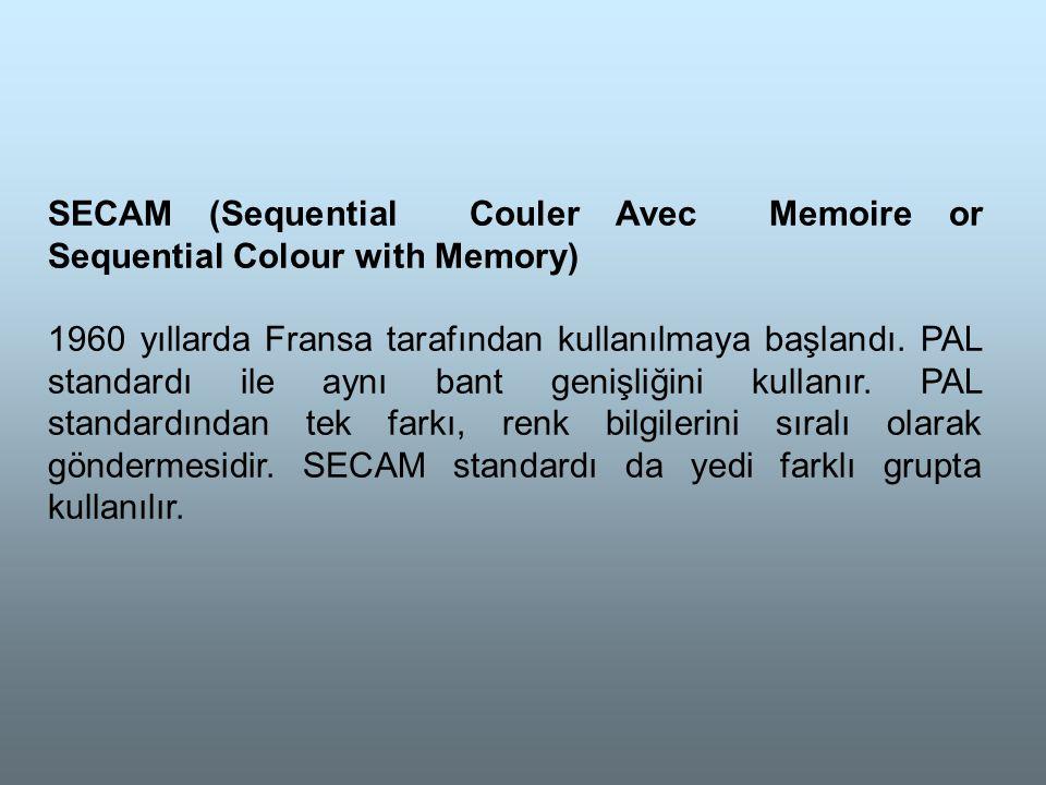 SECAM (Sequential Couler Avec Memoire or Sequential Colour with Memory) 1960 yıllarda Fransa tarafından kullanılmaya başlandı.