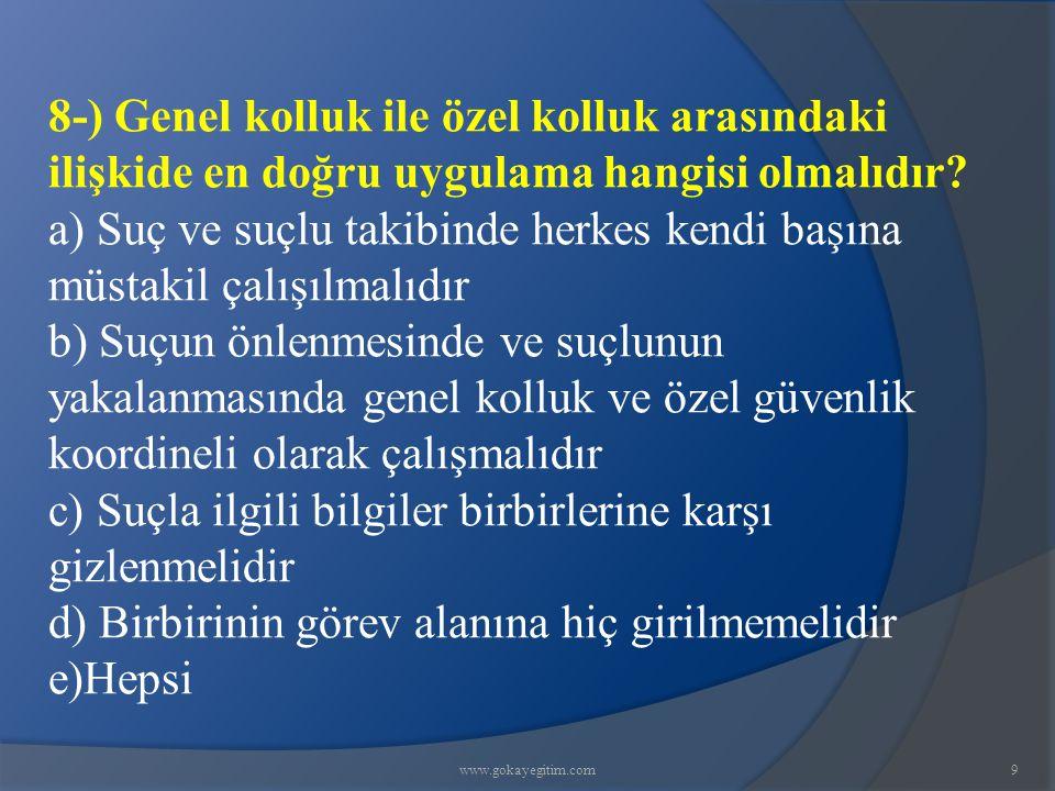 www.gokayegitim.com60 56-)Kişi Korumada, Öncü istihbarat çalışmasının amacı korunan kişinin............