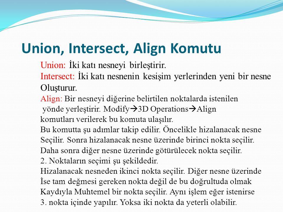 Union, Intersect, Align Komutu Union: İki katı nesneyi birleştirir. Intersect: İki katı nesnenin kesişim yerlerinden yeni bir nesne Oluşturur. Align:
