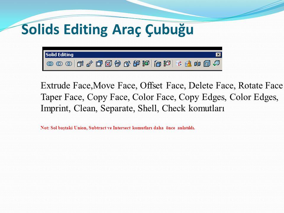 Solids Editing Araç Çubuğu Extrude Face,Move Face, Offset Face, Delete Face, Rotate Face Taper Face, Copy Face, Color Face, Copy Edges, Color Edges, I