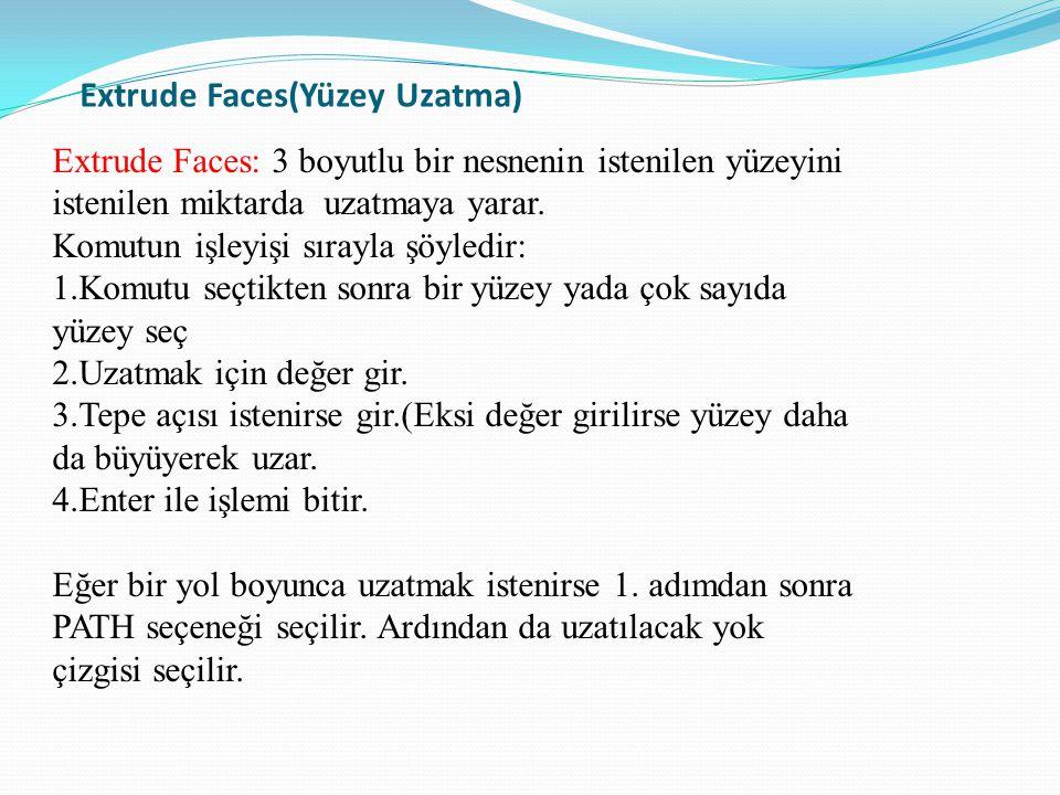 Extrude Faces(Yüzey Uzatma) Extrude Faces: 3 boyutlu bir nesnenin istenilen yüzeyini istenilen miktarda uzatmaya yarar. Komutun işleyişi sırayla şöyle