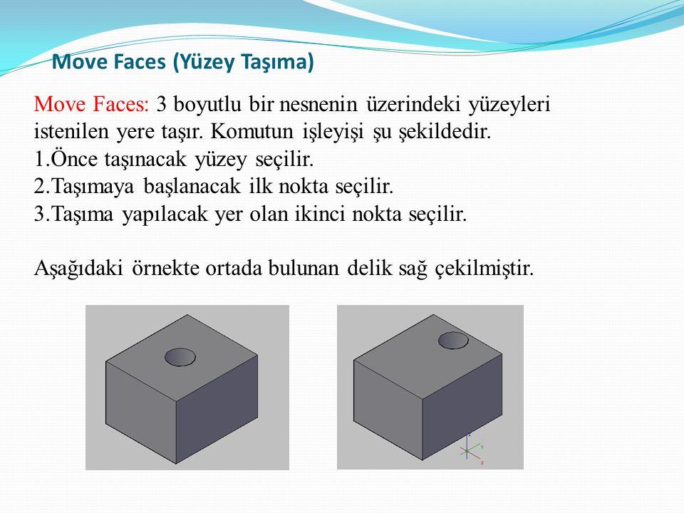 Move Faces (Yüzey Taşıma) Move Faces: 3 boyutlu bir nesnenin üzerindeki yüzeyleri istenilen yere taşır. Komutun işleyişi şu şekildedir. 1.Önce taşınac