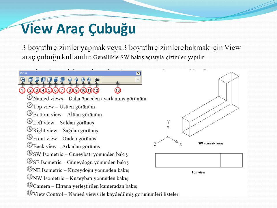 View Araç Çubuğu 3 boyutlu çizimler yapmak veya 3 boyutlu çizimlere bakmak için View araç çubuğu kullanılır. Genellikle SW bakış açısıyla çizimler yap